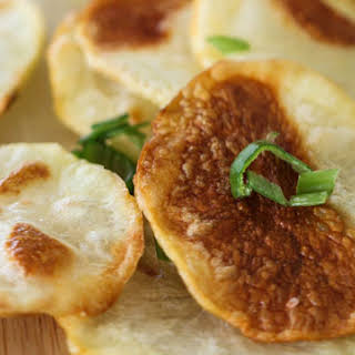 Baked Potato Chips with Sour Cream and Onion Dip.