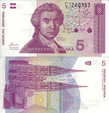 Photo: Ruggero Boscovich, 5 Croatian Dinar (1991). This note is now obsolete.