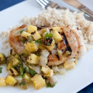 Chicken Breasts with Grilled Pineapple and Tomatillo Salsa.
