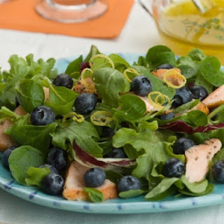 Salmon, Fresh Blueberries and Lemon Salad with Chive Vinaigrette.