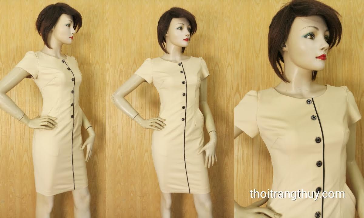 Váy bút chì dáng ôm một hàng cúc kiểu công sở V633 Thời Trang Thủy