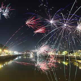 fireworks by Faizal Fahmi - City,  Street & Park  Skylines ( fireworks, slow speed, nightshoot, city, river )