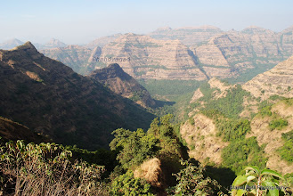 Photo: After 5 hours of trek ...from which 3 hours of steep climbing ..we are still one hour from Ghumati..... We can see Chandragad first time after we started our ascend...