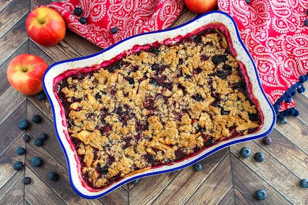 Blueberry Apple Crisp Ready To Be Served.