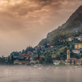 Colonno by Ole Steffensen - City,  Street & Park  Vistas ( como lake, italia, sunstreaks, town, lago di garda, colonno, lombardia, lake, italy, mist )