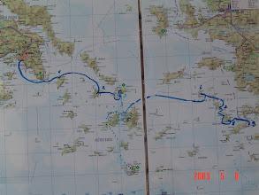 Photo: Reittimme: Ateena-Kea-Syros-Mykonos-(Delos yhteysaluksella)-Naxos-(Santorini yhteysaluksella)-Patmos-Leros-Kos. Maileja 9 päivän aikana arviolta 260 mpk.
