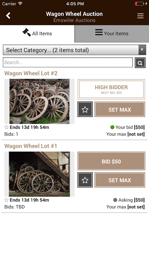 Emswiler Auctions- screenshot