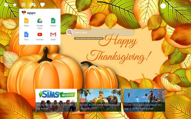 thanksgiving 4k background chrome theme