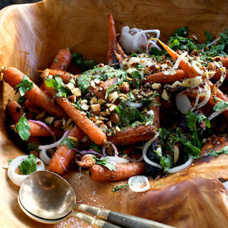 Grilled Carrots and Green Garlic with Coriander.