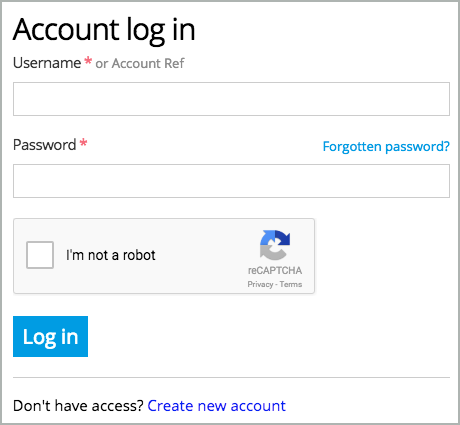 Account Log In dialog box