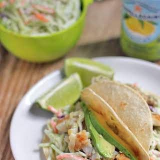 Fish Tacos with Broccoli Slaw.