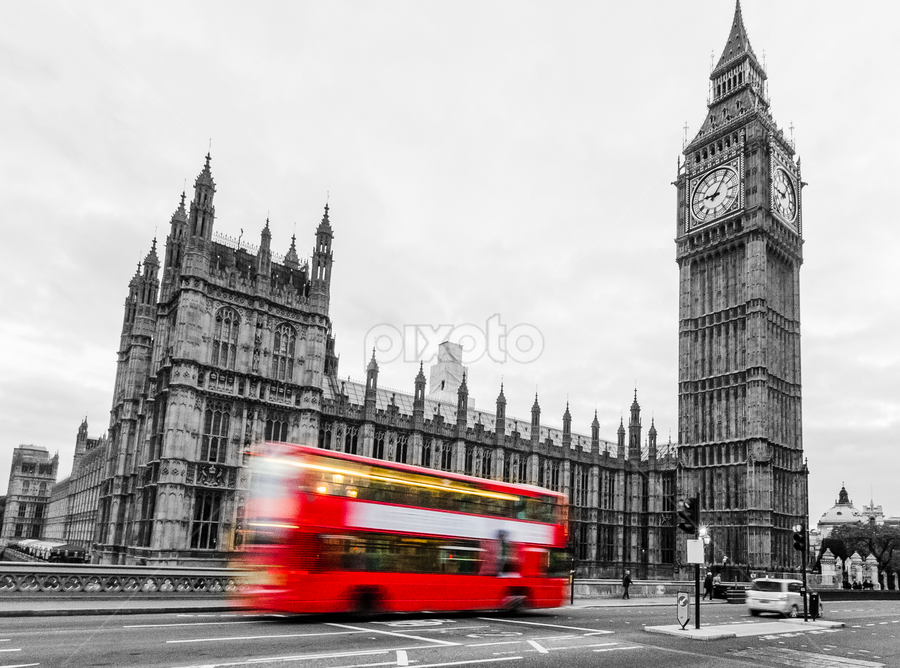 Big Ben by Archit Sureka - City,  Street & Park  Historic Districts ( red bus, red, bus, london, black and white, street, part color, big ben, london bus )
