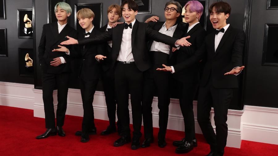 BTS no red carpet do Grammy em 2019 (foto: Reprodução/Reuters)
