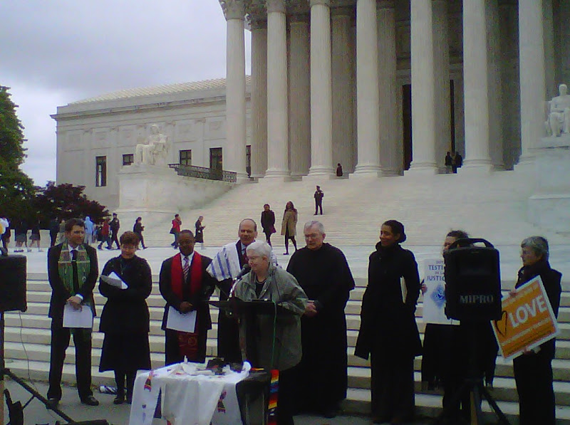 Photo: Sister Pat joins other faith leaders at the Supreme Court to open the Prayer Vigil for Immigration Justice. http://on.fb.me/HX27MU