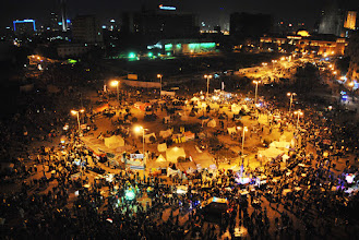 Photo: An aerial view of Tahrir Square during the latest round of clashes in downtown Cairo.