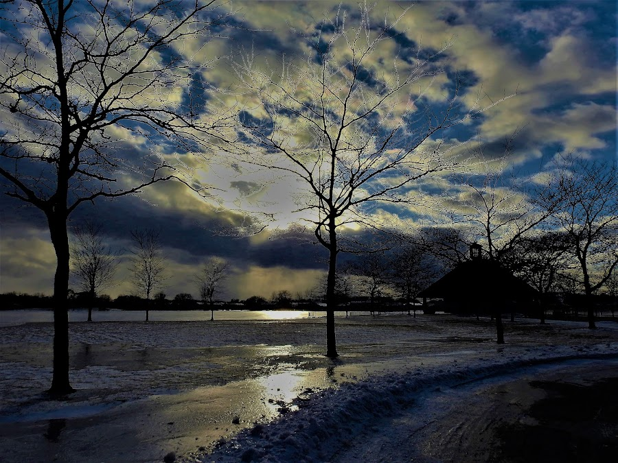 Icy Reflections by Kathy Woods Booth - City,  Street & Park  City Parks ( reflections, park scene, winter, cloudscape, ice, icy, park, landscape )