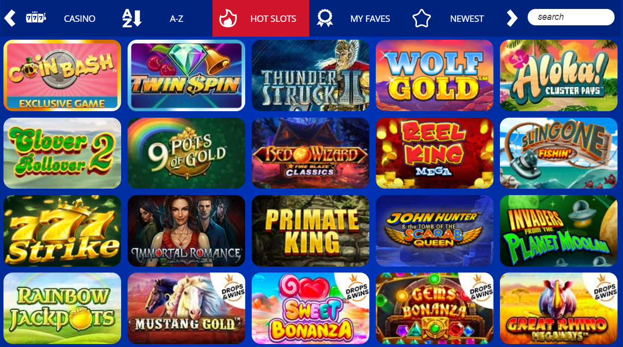 Spin Hill Casino Games Selection