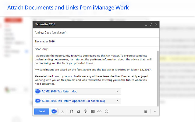 iManage Work for Gmail