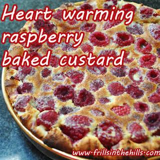 Easiest Raspberry baked custard pudding EVER..