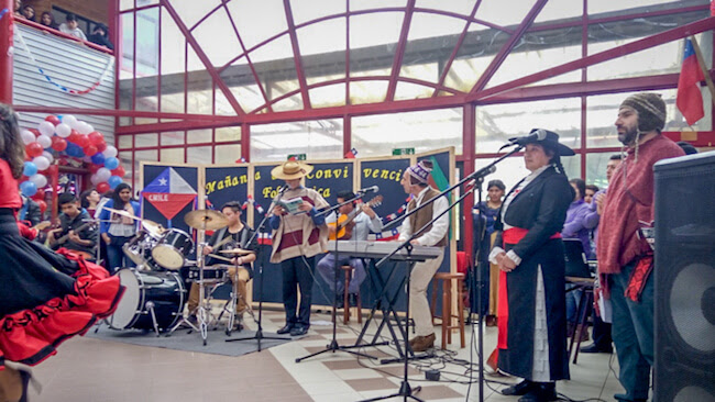 musicians and singers getting together on fiestas patrias or chile independence day castro chile south america