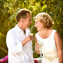 Laughter by Andrew Morgan - Wedding Bride & Groom ( love, champagne, wedding, happiness, laughter )