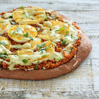 Quinoa Sloppy Joes Pizza with Rye Crust, Orange slices, Jalapeno Aioli. vegan