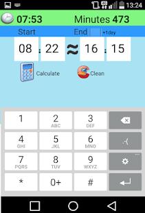 Calculator between hours, Free screenshot
