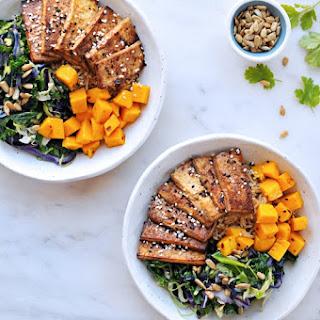Sesame Balsamic Tofu Bowls With Chile Mango + Sunflower-cilantro Pesto