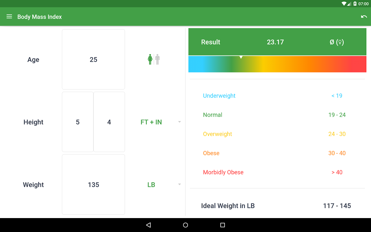 BMI Calculator – Ideal Weight- screenshot