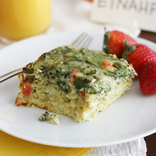 Slow Cooker Cheesy Pesto and Spinach Egg Casserole.