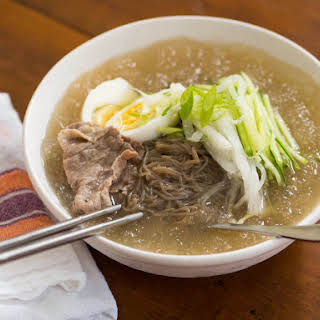 Cold Korean Noodle Soup With Asian Pear and Cucumber (Mul Naengmyun).