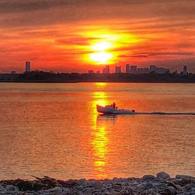 Going home by Ann Goldman - Landscapes Sunsets & Sunrises ( boston, bayside, sunset, boating, boat )