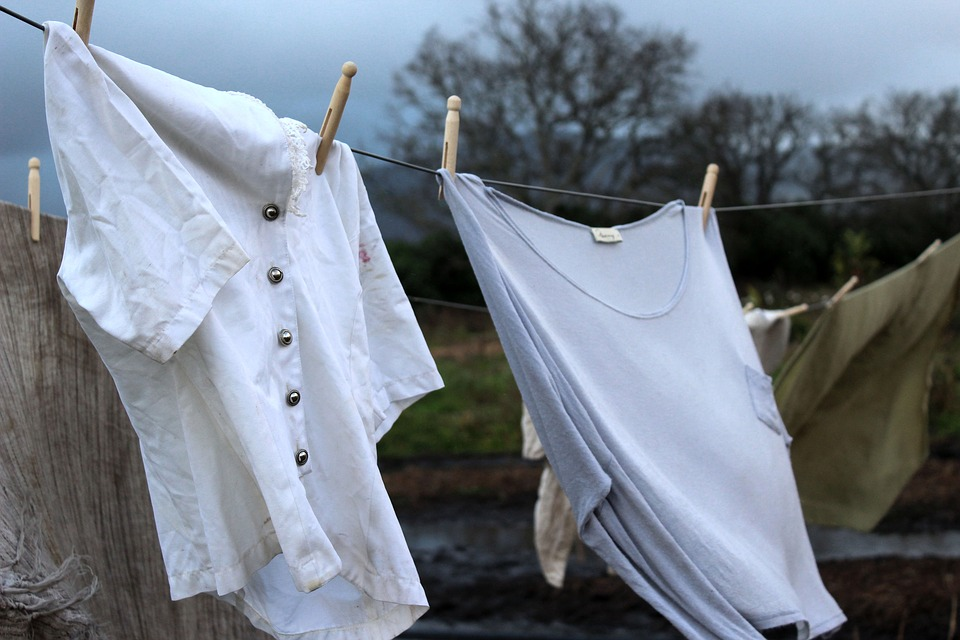 Clothes, Old, Washing, Line, Stormy, Rain, Dark