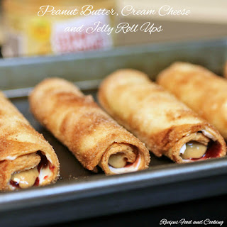 Peanut Butter, Cream Cheese and Jelly Roll Ups.