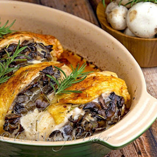 Mushroom Stuffed Chicken Breast with Rosemary Butter Recipe