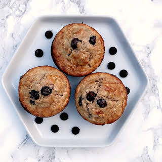 Almond Butter Oatmeal Protein Muffins with Dark Chocolate Chips.
