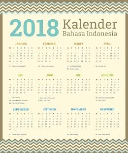 Calendar Indonesia 2018 - náhled