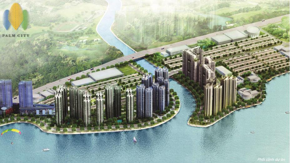 Phối cảnh toàn dự án Palm City Quận 2 bên bờ sông