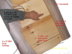 Photo: Inside the roof, Chris points to the pine deck.