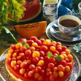 Melonen-Kokos-Torte (Fruchtschicht mit Tortenguss-Pulver)