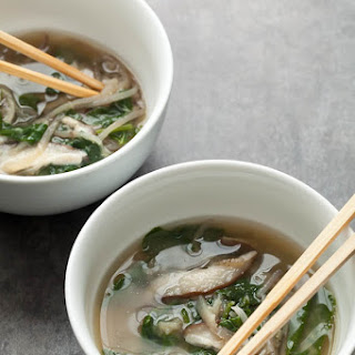 Spinach and Eggplant Noodle Miso Soup.