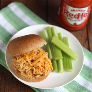Healthy Crock-Pot Buffalo Chicken Sandwiches.