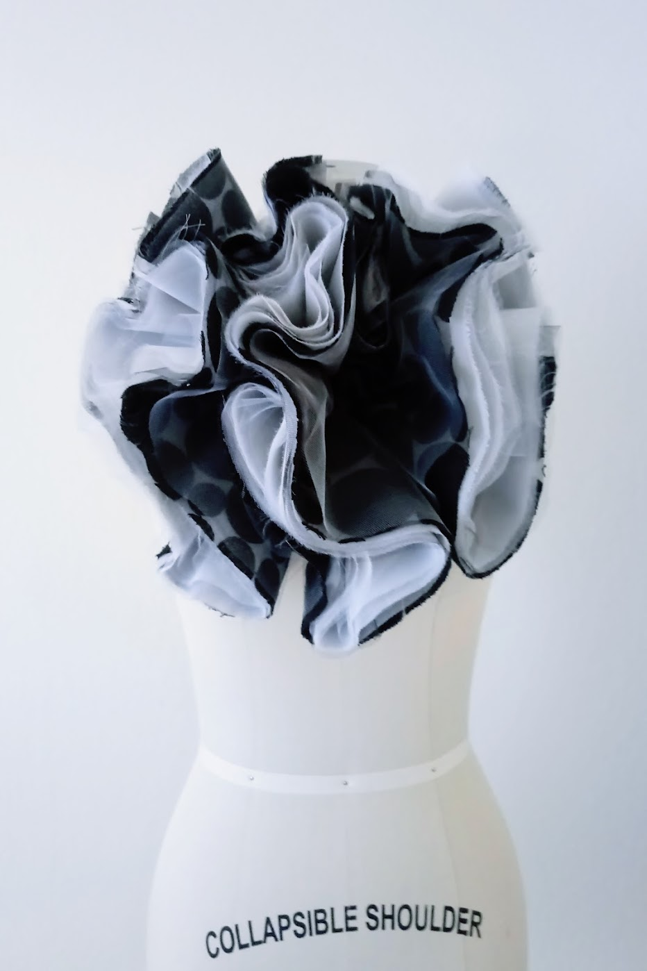 Black and White Layered Spiral-Cut Flounce Neckpiece - DIY Fashion Accessories | fafafoom.com