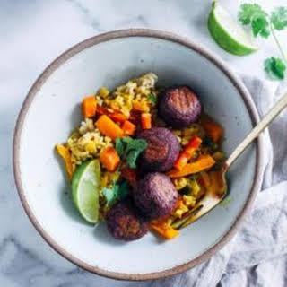 Sweet Potato Kofta with Turmeric Curry.