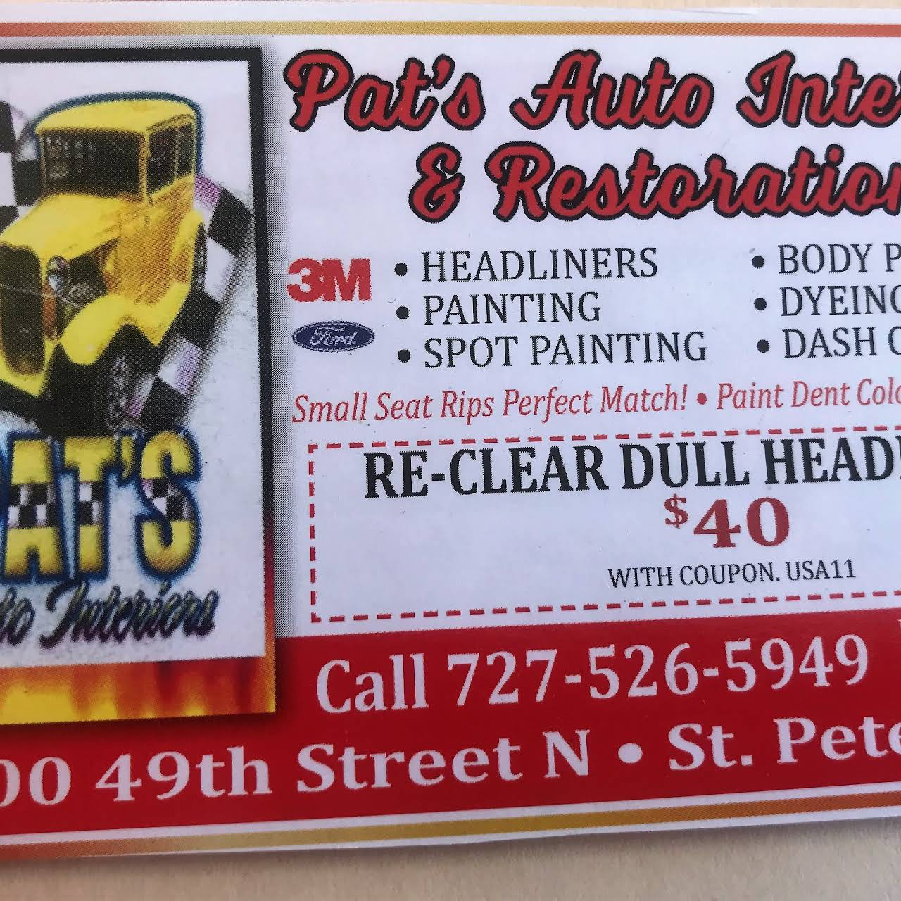 Pat S Auto Interiors Professional Auto Upholsterer And Small Dent