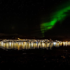 panoramic and aurora by Benny Høynes - Travel Locations Landmarks ( auroraboreoalis, bluecity, landscapes, sortland, panorama, norway )