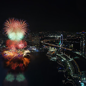 Reach Out for the Sky by Jenny Zhang - City,  Street & Park  Skylines ( festive, colorful, new year, joy, party, singapore, marina bay, explode, reach, sky, event, happy, year, festival, light, celebrate, anniversary, colors, fire, holiday, new, explosion, fireworks, night, celebration, success )