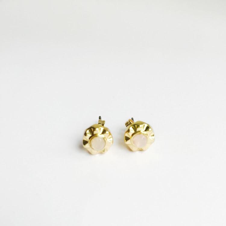 E003_G - G. Sunburst Crystal Stud Earrings