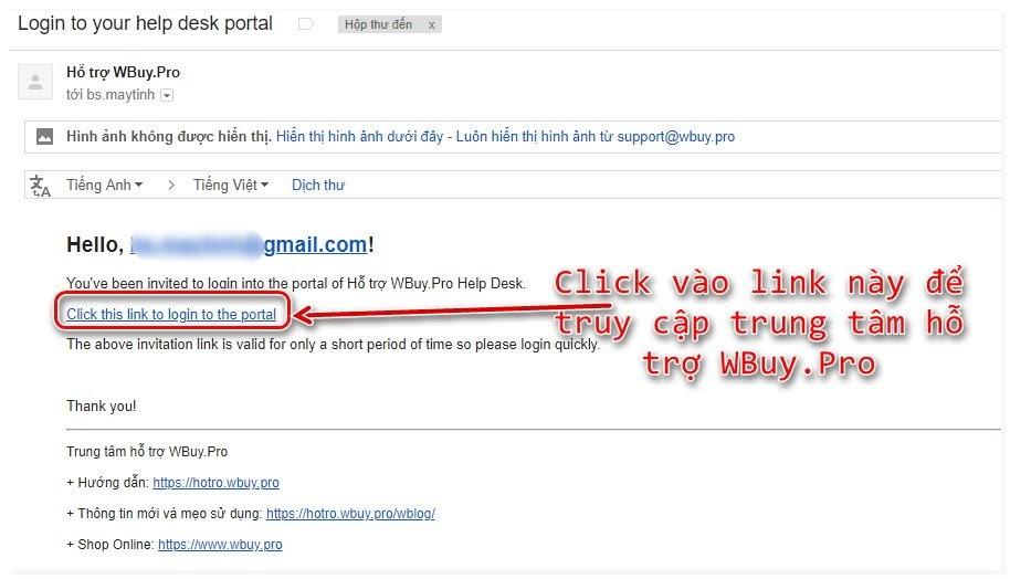 Yêu cầu hỗ trợ dành cho khách hàng Wbuy.pro