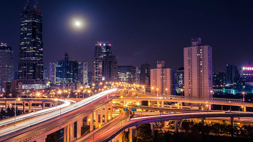 Shanghai-cityscape-at-night - Shanghai cityscape at night (time-lapse photo).